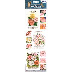 Blue Hills Studio Irene's Garden Seed Packet Fabric Stickers Pink