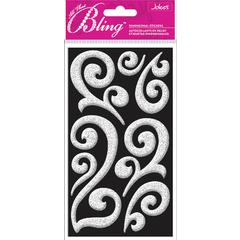 Jolee's Boutique All That Bling Le Grande Puffy Stickers Silver Flourish
