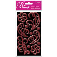 Puffy Stickers Red Flourish