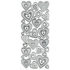 3-D Hearts Silver