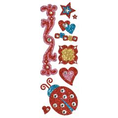 Glitter Bling Stickers Red