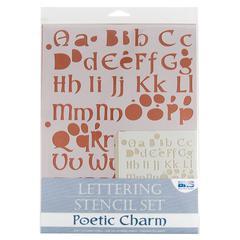 Blue Hills Studio Lettering Stencil Set Poetic Charm