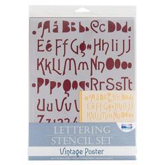 Lettering Stencil Set Vintage Poster