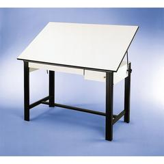 "Table Black Base White Top 2 Drawers 37.5"" x 72"""