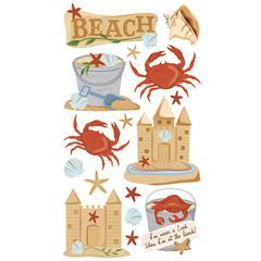 Sticko Classic Sticker Vellum/Glitter Beach & Crabs