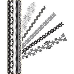 "K & Company Sheer Simplicity Glitter & Cardstock Adhesive 12"" Borders Black & White"