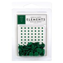 American Crafts Elements Painted Medium Brads Evergreen