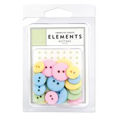 American Crafts Round Buttons Pastels