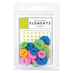 American Crafts Round Buttons Brights