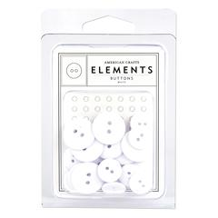 American Crafts Elements Round Buttons White