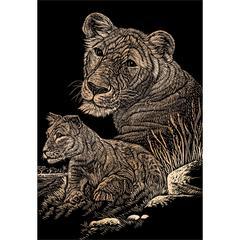 Engraving Art Set Copper Foil Lioness & Cub