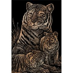 Engraving Art Set Copper Foil Tiger & Cubs