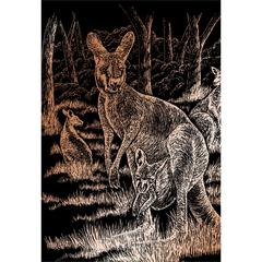 Engraving Art Set Copper Foil Kangaroo & Baby
