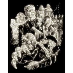 Engraving Art Set Glow In The Dark Foil Monster