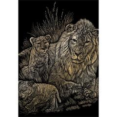 Engraving Art Set Gold Foil Lion/Cubs