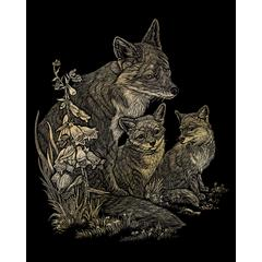Engraving Art Set Gold Foil Fox & Cubs