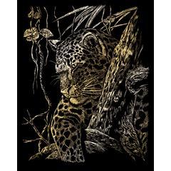 Engraving Art Set Gold Foil Leopard Tree
