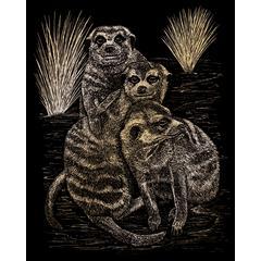 Engraving Art Set Gold Foil Meer Cats