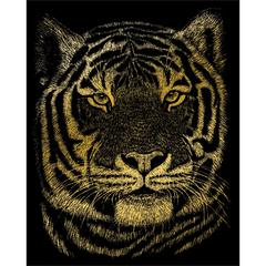 Engraving Art Set Gold Foil Bengal Tiger