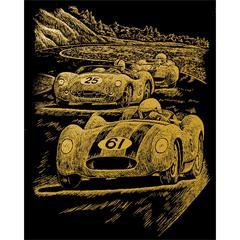 Engraving Art Set Gold Foil Nostalgic Race Cars