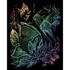 Engraving Art Set Rainbow Foil Tropical Fish