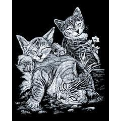 Engraving Art Set Silver Foil Tabby Cat & Kitten