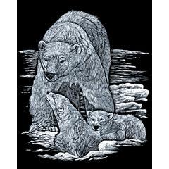 Royal & Langnickel Engraving Art Set Silver Foil Polar Bear & Cub