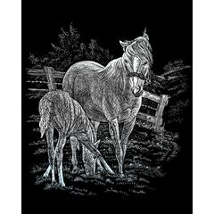Royal & Langnickel Engraving Art Set Silver Foil Mare & Foal