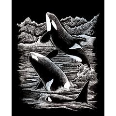 Royal & Langnickel Engraving Art Set Silver Foil Orca Whales