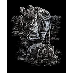 Engraving Art Set Silver Foil Rhinoceros & Baby