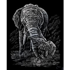 Engraving Art Set Silver Foil Elephant & Baby