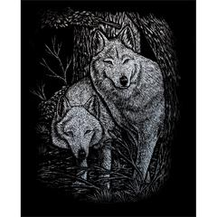 Engraving Art Set Silver Foil Wolves in Trees