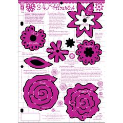 "8.5"" x 12"" Papercrafting Template 3D Flower"