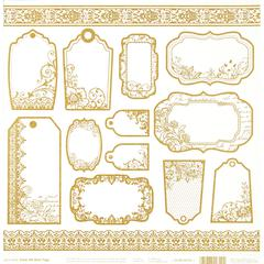 Hot Off the Press Color Me 12 x 12 Paper Gold Tags