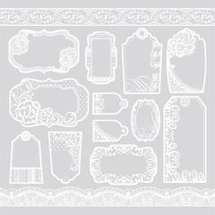 Hot Off the Press Color Me 12 x 12 Paper White Lacy Tags