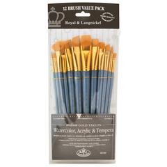 Royal & Langnickel 9300 Series  Zip N' Close 12-Piece Gold Taklon Brush Set 3