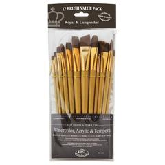 12-Piece Brown Taklon Brush Set 2