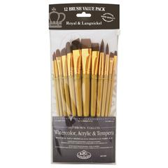 12-Piece Brown Taklon Brush Set 1