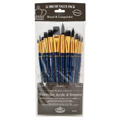 12-Piece Black Taklon Brush Set 2