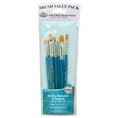 Royal & Langnickel 9100 Series  Zip N' Close Teal Blue 7-Piece Brush Set 16