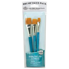 Royal & Langnickel 9100 Series  Zip N' Close Teal Blue 3-Piece Brush Set 14
