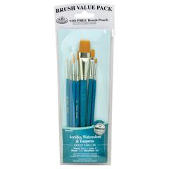 Royal & Langnickel 9100 Series  Zip N' Close Teal Blue 7-Piece Brush Set 12