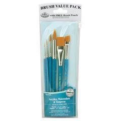 Royal & Langnickel 9100 Series  Zip N' Close Teal Blue 6-Piece Brush Set 11