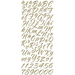 Alphabet Stickers Brush Stroke Gold