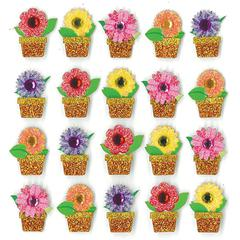 Repeat Sticker Flowers Pots