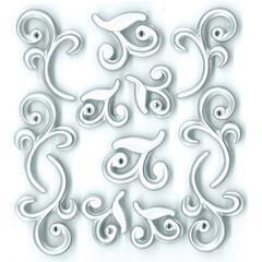 Adhesive Cabochons Silver Flourish