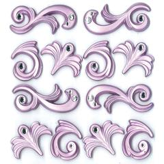 Adhesive Cabochons Purple Flourish
