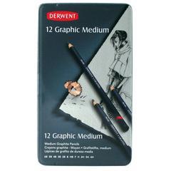 Derwent Graphic 12-Pencil Tin Set Medium