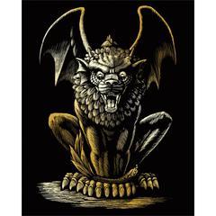 Engraving Art Set Gold Lion Gargoyle