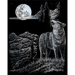 Engraving Art Set Silver Wolf Moon